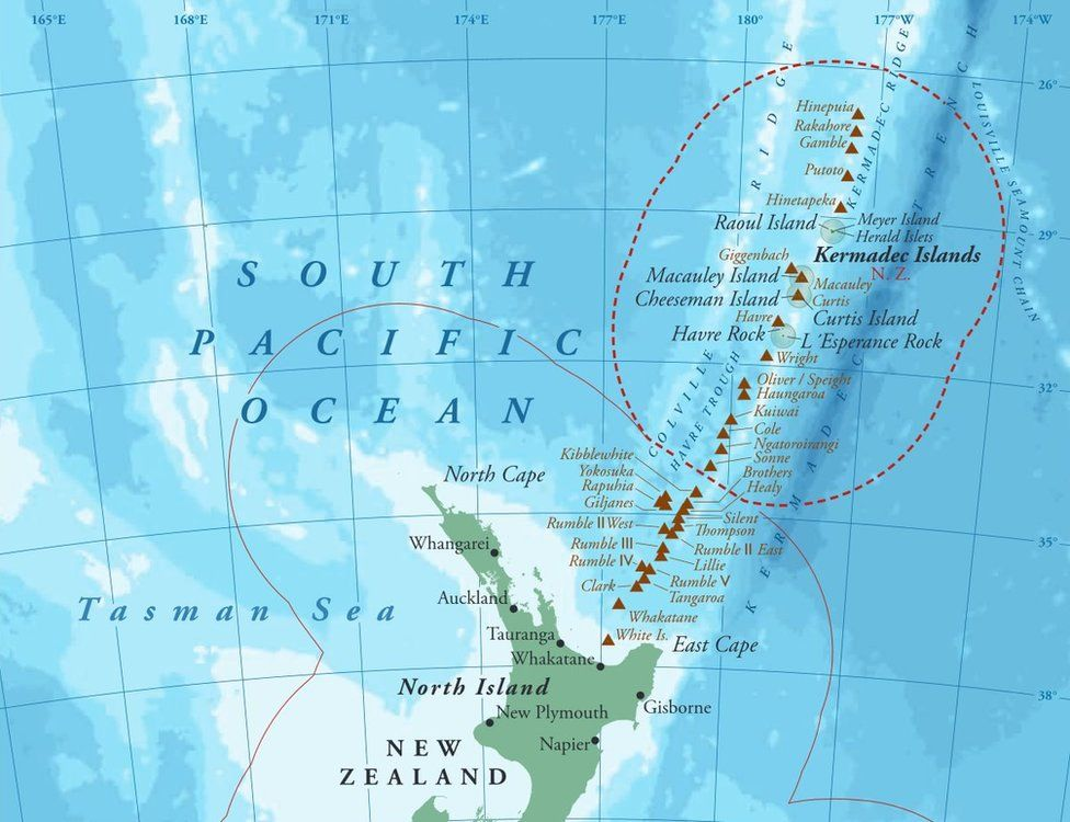 Map showing the new Kermadec marine reserve in New Zealand