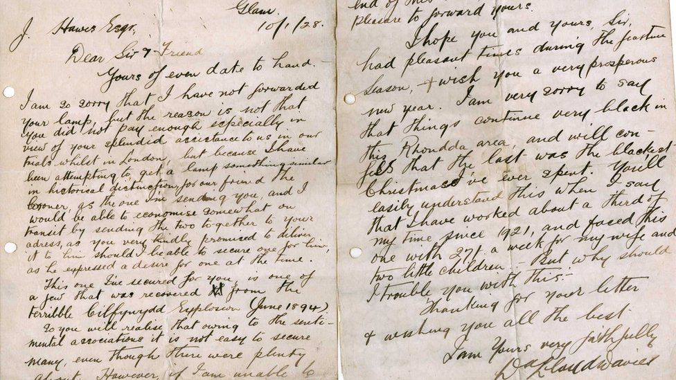 The letter that accompanied the lamp