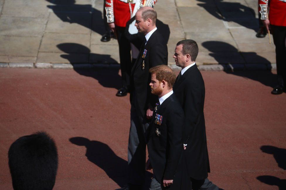 Prince William, Duke of Cambridge, Peter Phillips and Prince Harry, Duke of Sussex during the funeral of Prince Philip, Duke of Edinburgh at Windsor Castle on April 17, 2021 in Windsor, England.