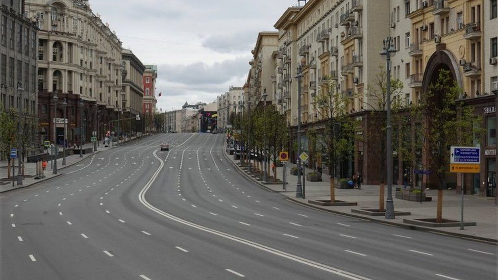 Empty Tverskaya Street in Moscow