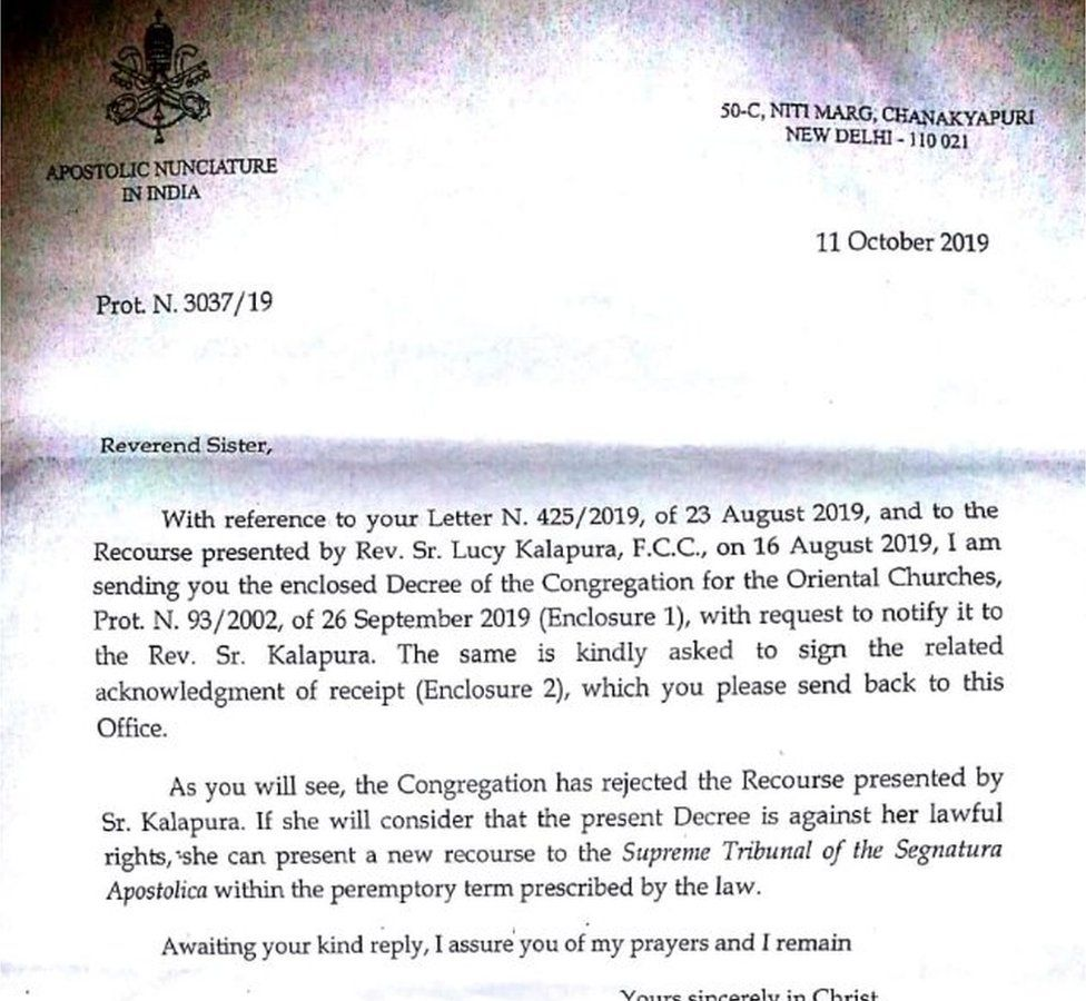 Letter sent to Sister Lucy from the Vatican