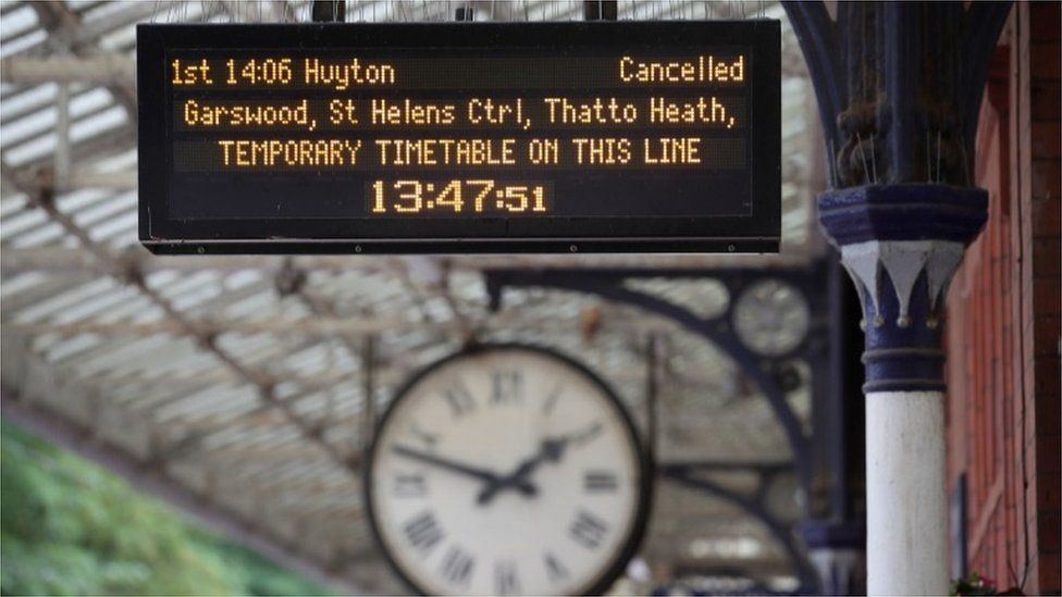Sign showing train service cancelled