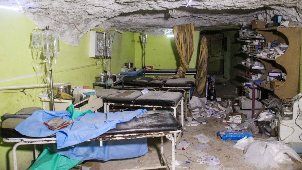 Destruction at a hospital room in Khan Sheikhoun. April 4, 2017