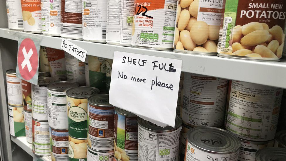 Shelves of food
