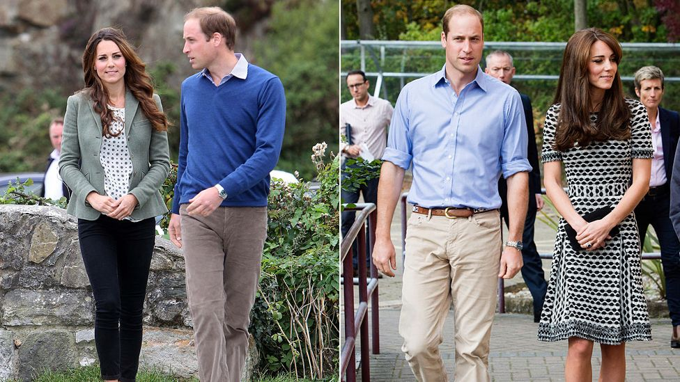 Prince William and Kate Middleton wearing casual clothing