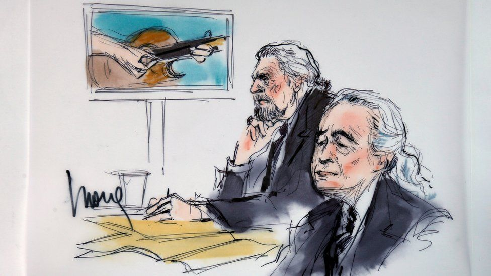 "Led Zeppelin singer Robert Plant (L) and guitarist Jimmy Page are shown sitting in federal court for a hearing in a lawsuit involving their rock classic song ""Stairway to Heaven"" in this courtroom sketch in Los Angeles, California 14 June 2016."