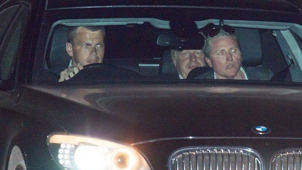 Boris Johnson leaving Chequers