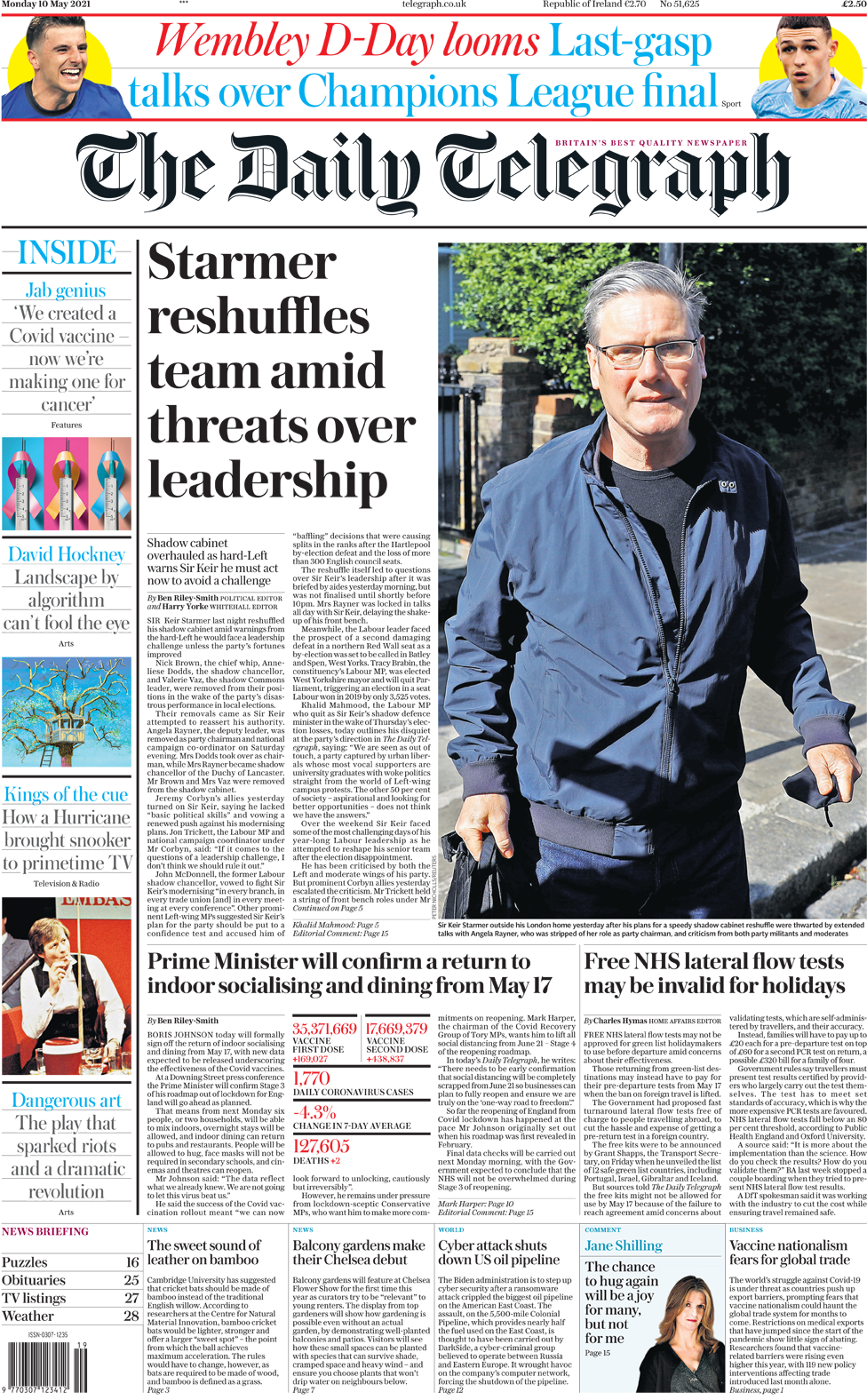 The Daily Telegraph front page 10 May 2021