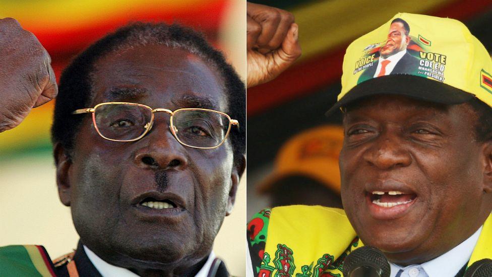 L: Robert Mugabe R: Emmerson Mnangagwa