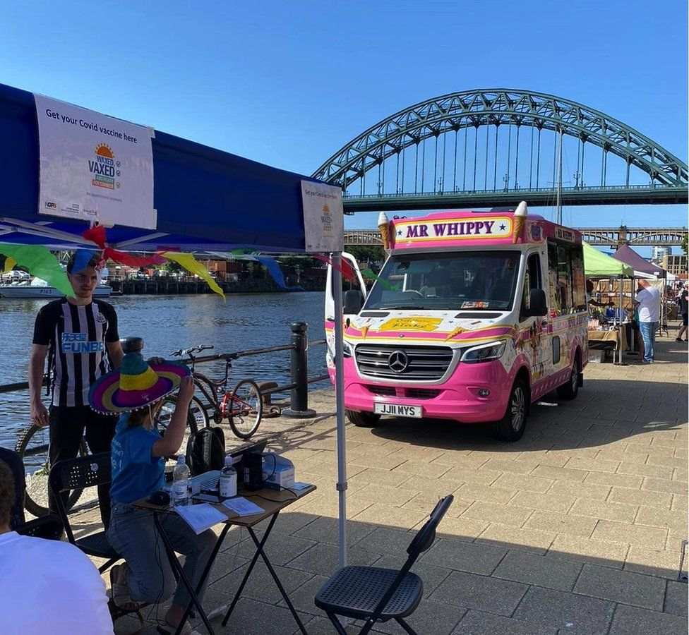 A pop-up vaccine site in Newcastle upon Tyne
