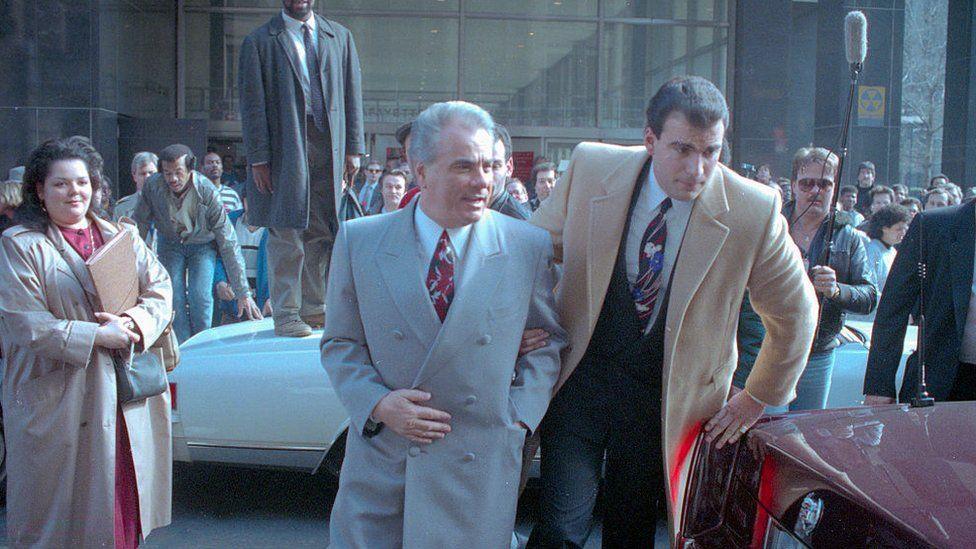 John Gotti leaving court in 1990
