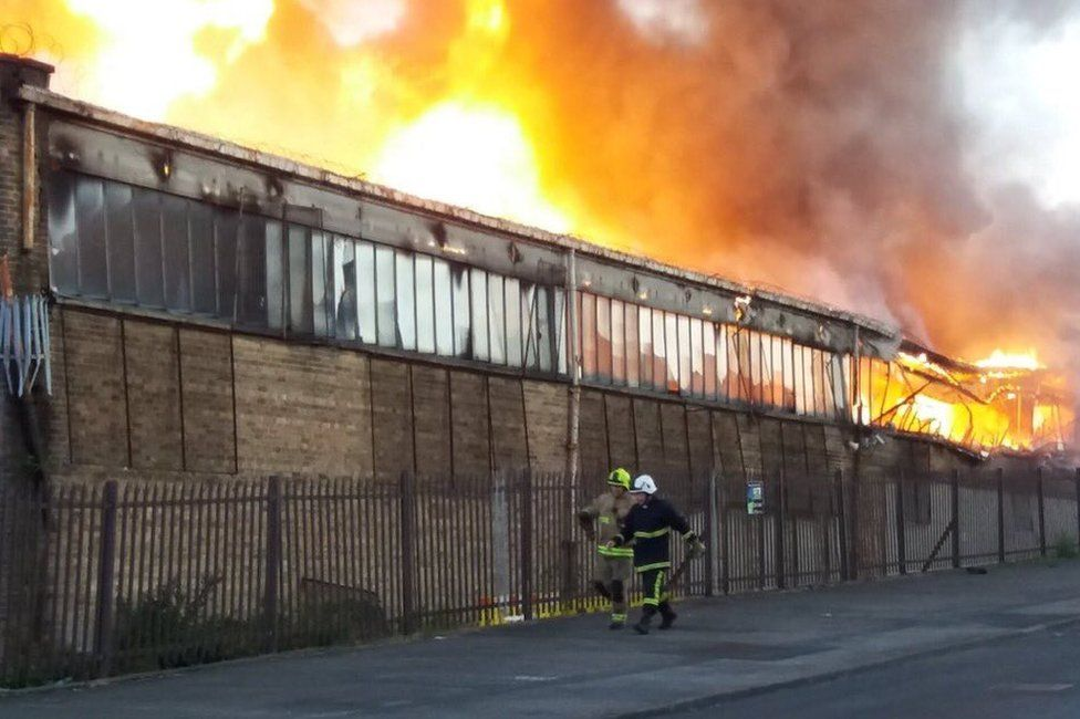Fire in a building