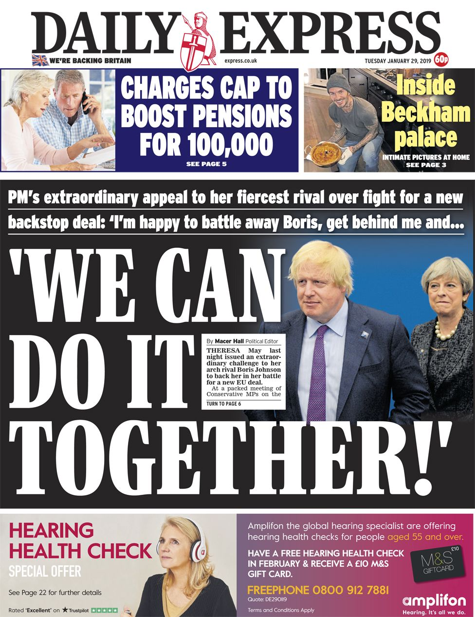 Daily Express front page - 29/01/19