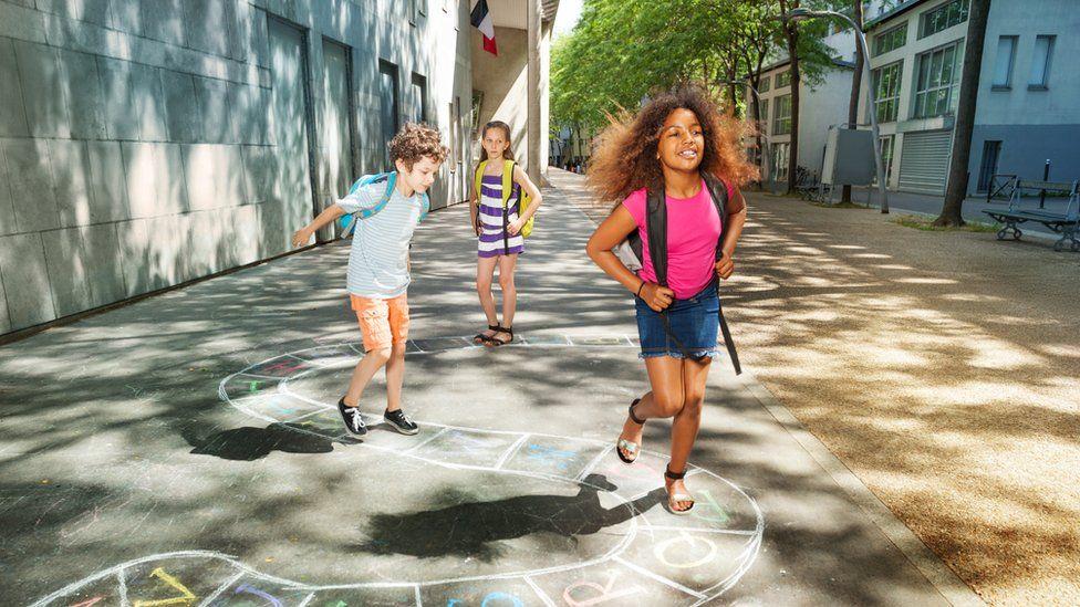 School children playing in France