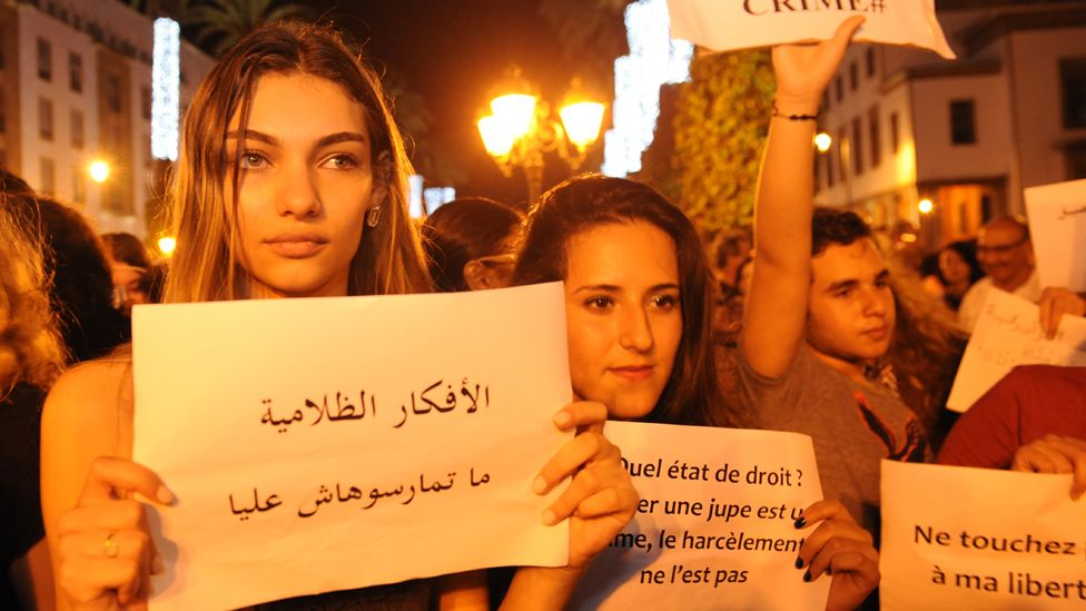 2015: Moroccans protest against the arrest of two women with outfits deemed inappropriate