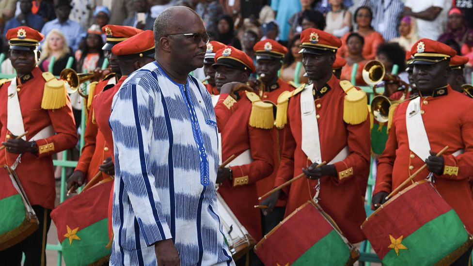 Burkina Faso's President Roch Marc Christian Kabore arrives for the opening ceremony of the FESPACO Panafrican Film and Television Festival of Ouagadougou, in Burkina Faso, on February 23, 2019