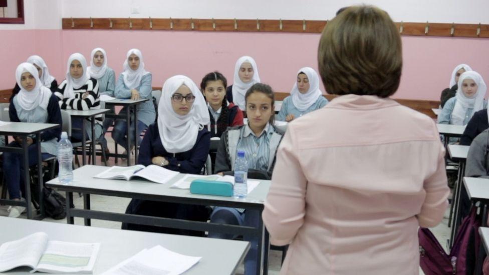 Pupils in class in Ramallah