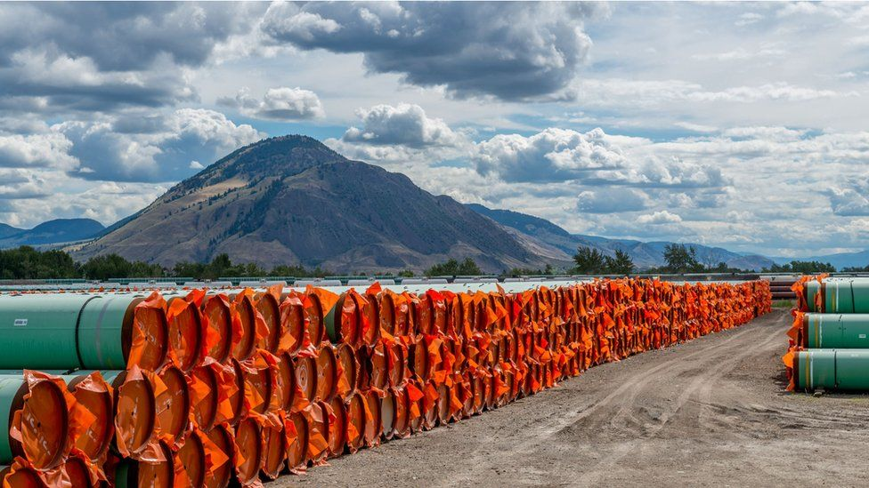 Stockpiled pipe to be used in the of the Canadian government's Trans Mountain Expansion Project