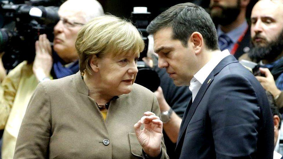 German Chancellor Angela Merkel, and Greek Prime Minister Alexis Tsipras