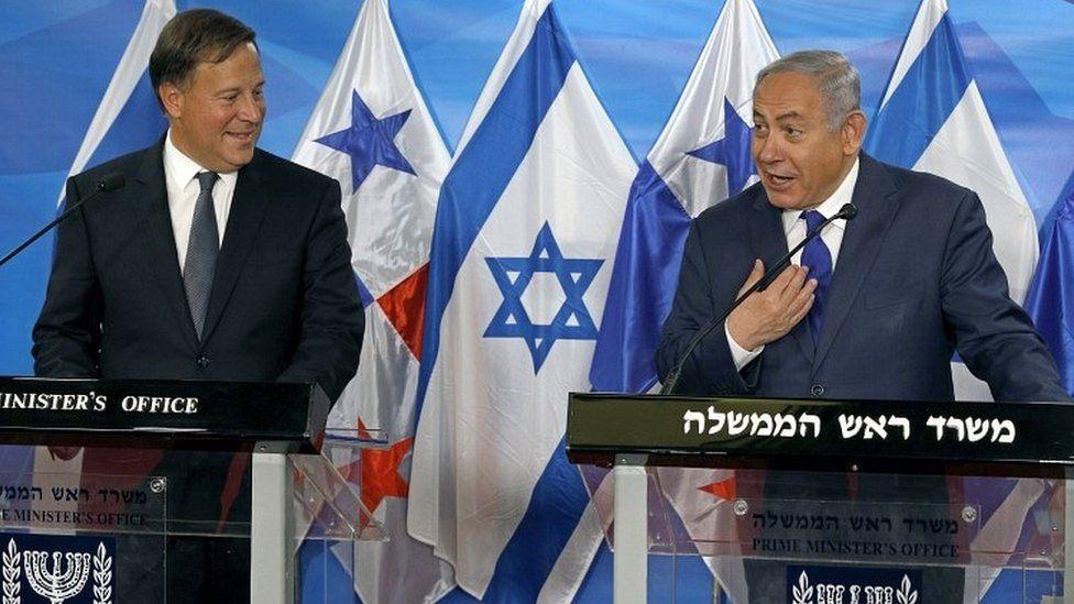 Panama's Juan Carlos Varela holds a news conference in Jerusalem with Israeli PM Benjamin Netanyahu on 17 May 2018