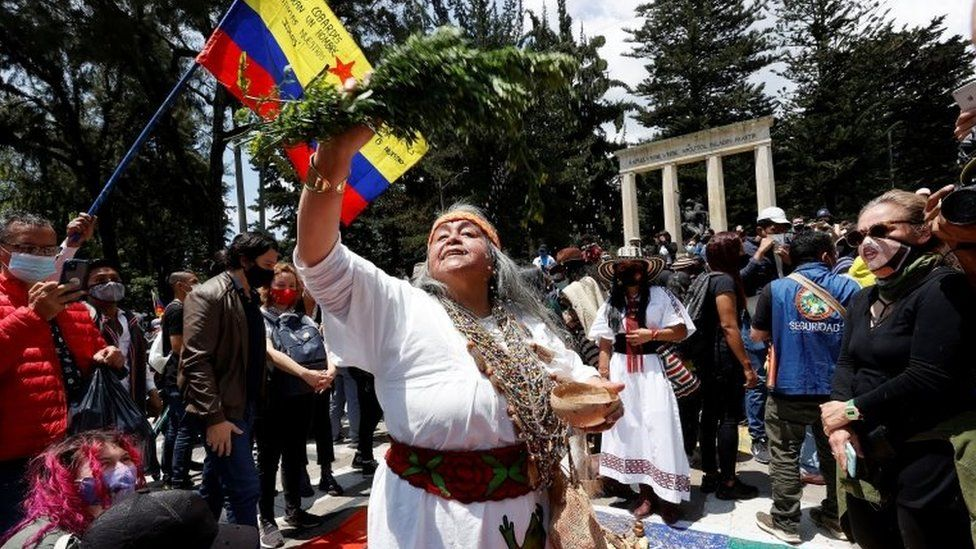 Protesters participate in a day of demonstrations in the National Park in Bogota, Colombia 07 May 2021.