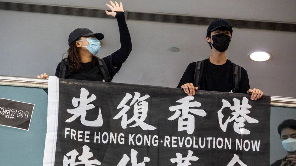 Pro-democracy demonstrators calling for the city's independence protest in Tsim Sha Tsui waterfront in Hong Kong on May 10, 2020