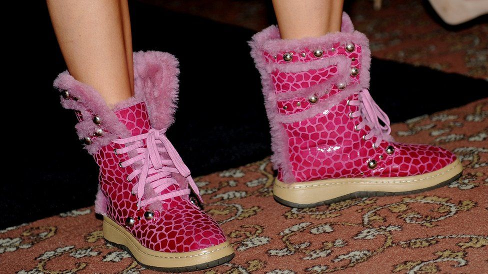 A pair of pink boots