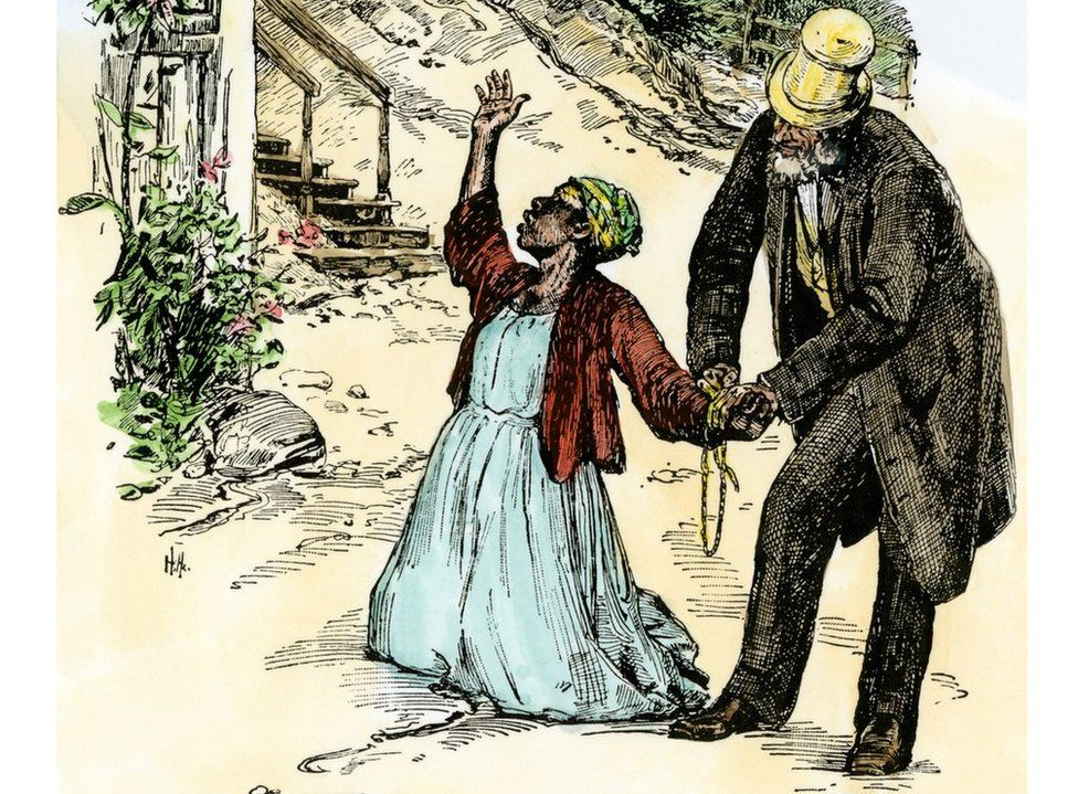 Slave mother dragged away from her children to be sold. Hand-coloured woodcut of a 19th-century illustration.