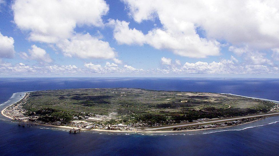 The island state of the Republic of Nauru, from the air