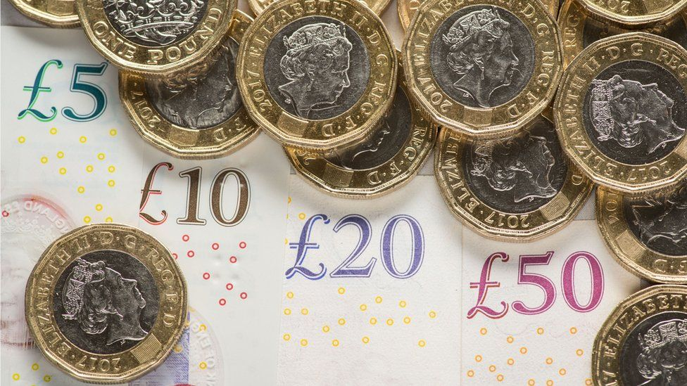 Pound coins and notes