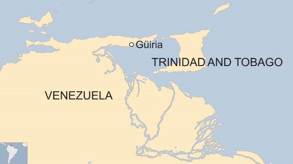 A map showing Venezuela, Guiria and Trinidad and Tobago