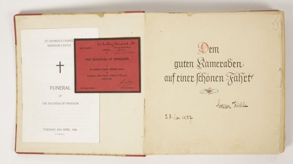The equerry's invitation to the funeral of the Duchess of Windsor in 1986 and the photo album of the visit to Germany in 1937