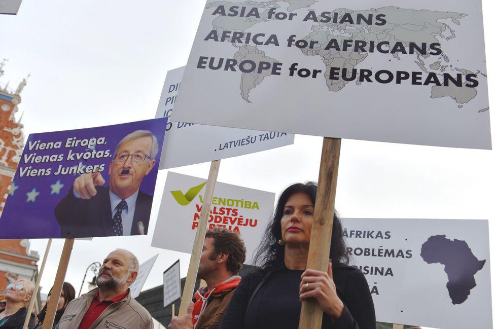 Latvian anti-EU protest in Riga, Sept 2015