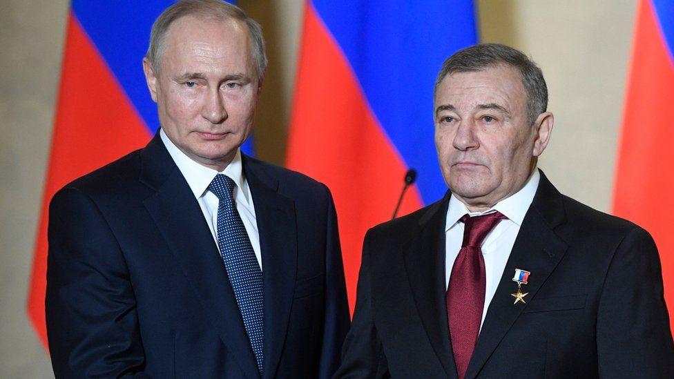 Russian President Vladimir Putin decorates businessman Arkady Rotenberg on March 18, 2020