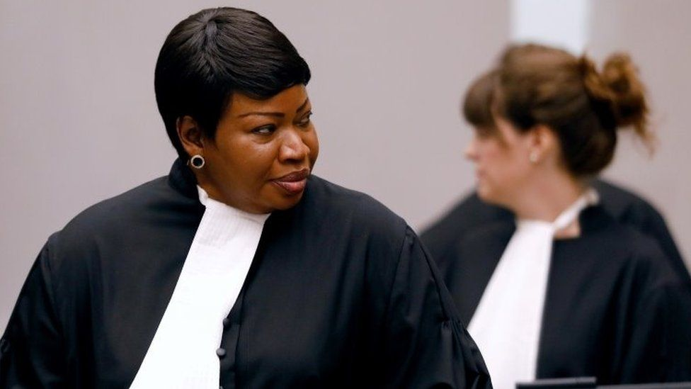 Public Prosecutor Fatou Bensouda attends the trial of Congolese warlord in 2018