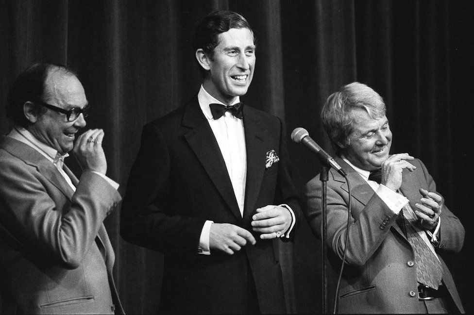 Prince of Wales on stage with comedy duo Eric Morecambe (left) and Ernie Wise