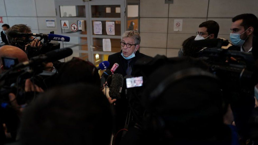Luc Febbraro, a lawyer of Jacqueline Veyrac, speaks to the press