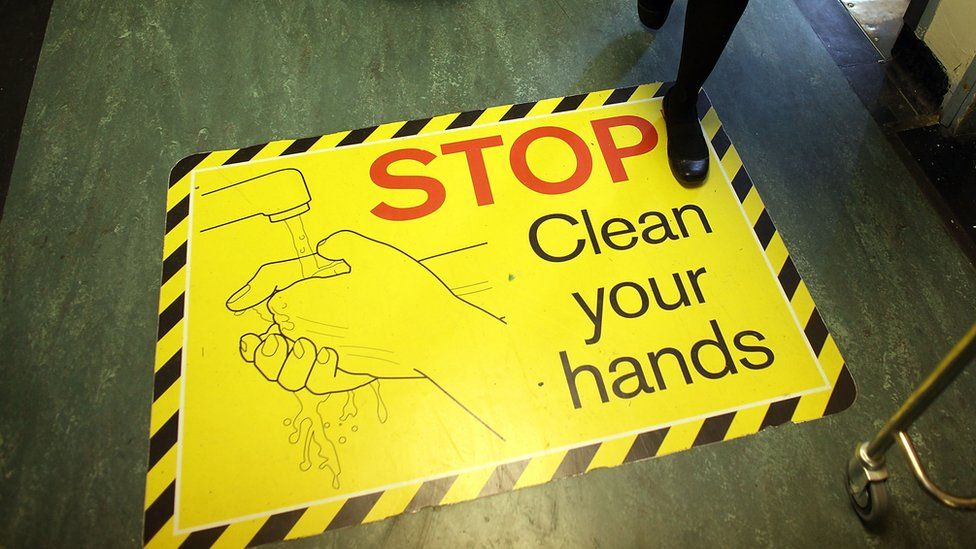 Hospital clean hands sign