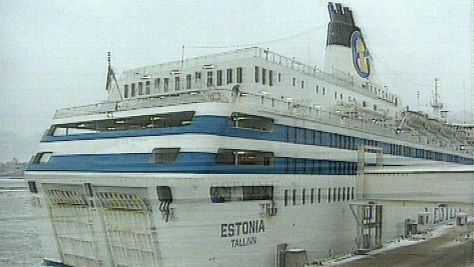 A freeze frame image of the Estonia before it sank
