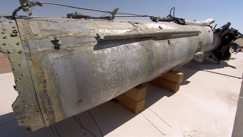 An SS21 Tochka missile fired by Yemen rebel forces into Saudi Arabia and intercepted