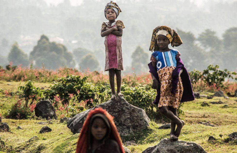 Batwa children photographed outside Rukeri, Uganda