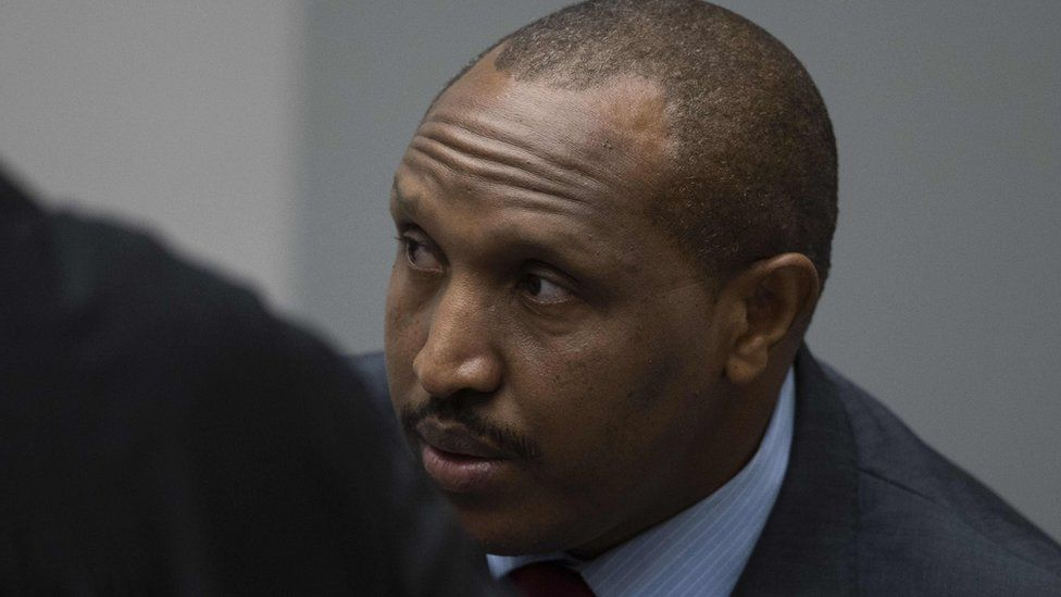 """The former Congolese militia leader Bosco """"Terminator"""" Ntaganda looks on in the courtroom of the International Criminal Court in The Hague, on November 7,"""