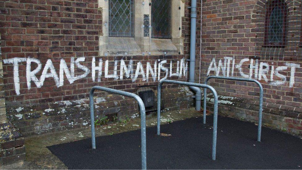 Graffiti on St Thomas's Church
