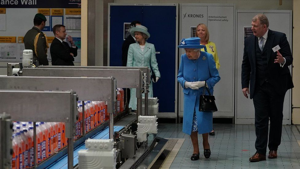 The Queen at the bottling plant