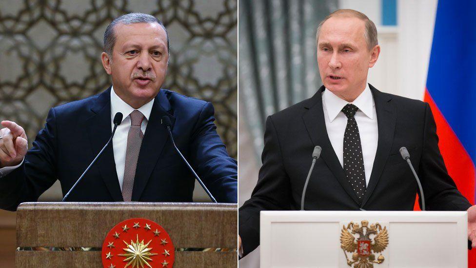 Composite image of Turkey's Recep Tayyip Erdogan and Russia's Vladimir Putin