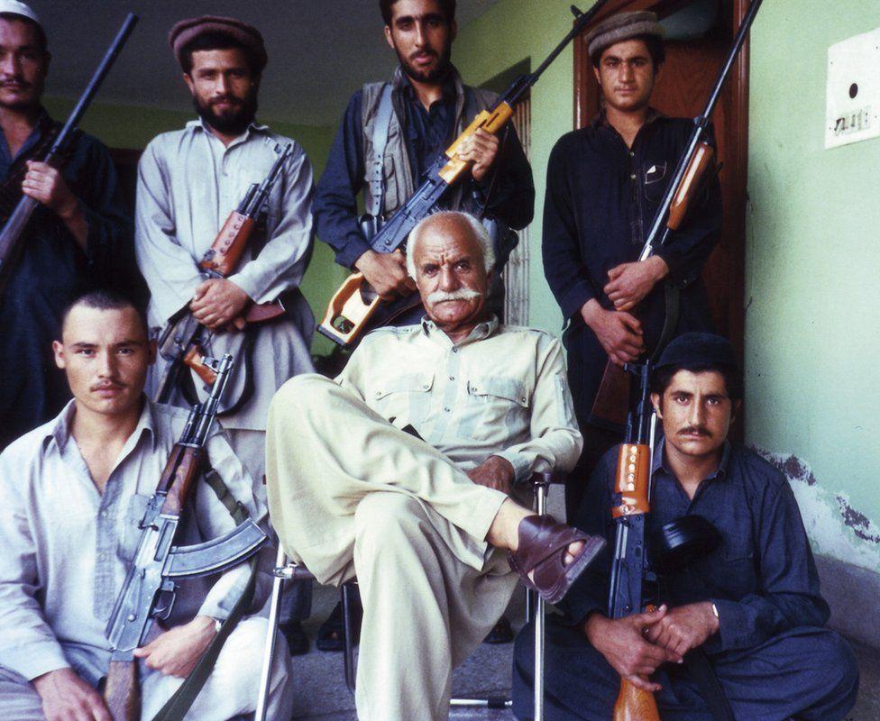 Members of the Mujahideen holding guns in Afghanistan in 1988