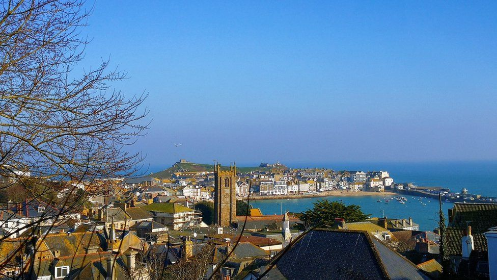 St Ives in Cornwall basking in the spring sunshine