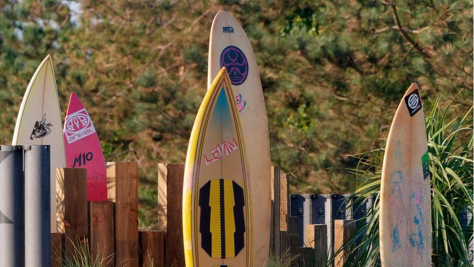 Surfboards on roundabout