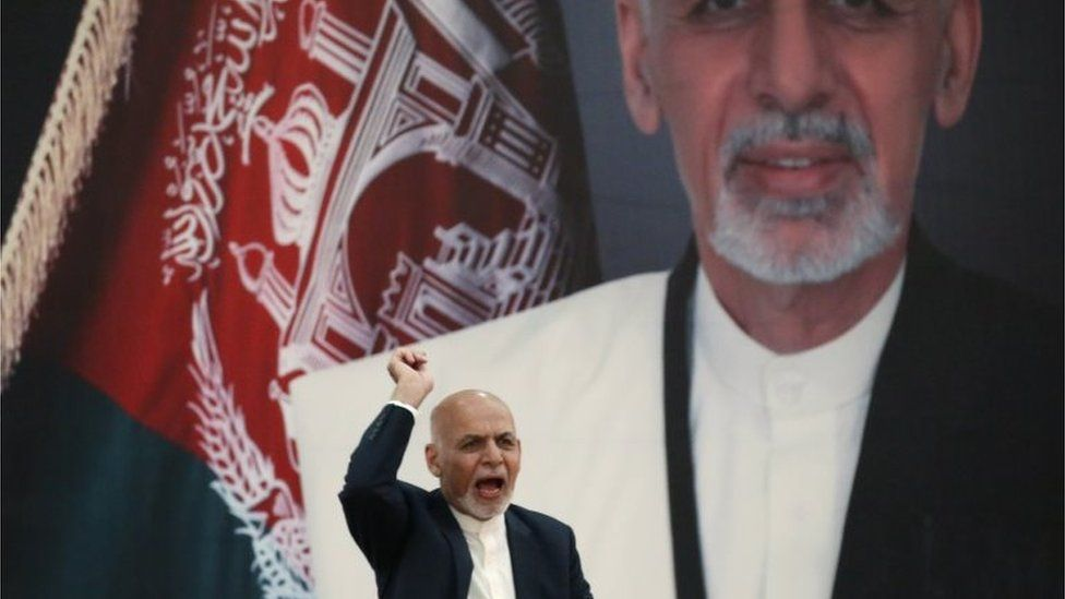 """Afghanistan""""s President Ashraf Ghani speaks during an event with Afghan security forces in Kabul"""