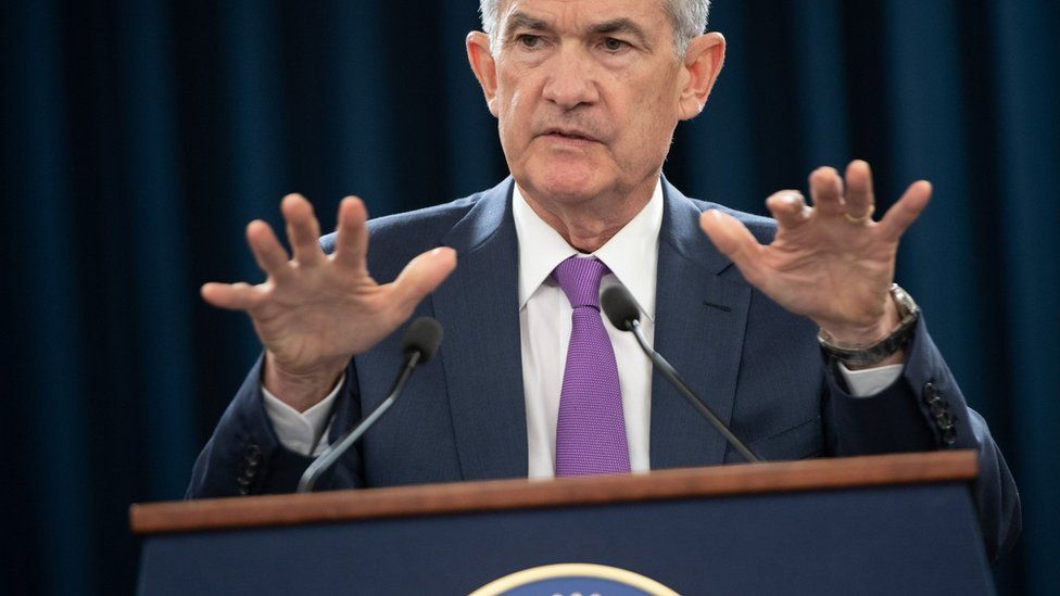 Federal Reserve Board Chairman Jerome Powell speaks during a press conference in Washington, DC, September 26, 2018.